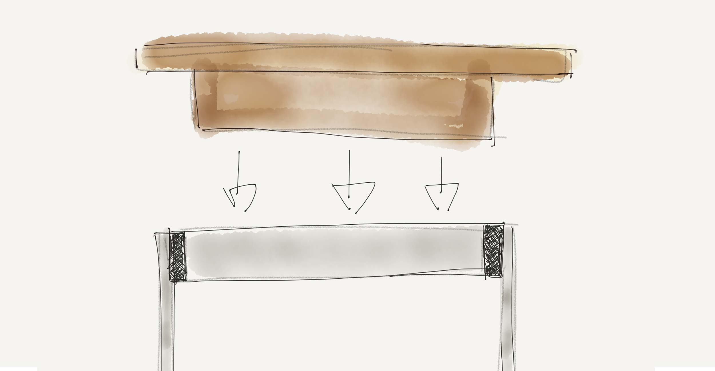boceto Piezas table Woud